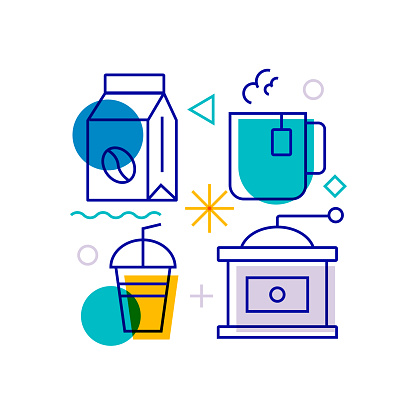 Coffee Related Design Element. Pattern Design with Outline Icons. Colorful Vector Illustration