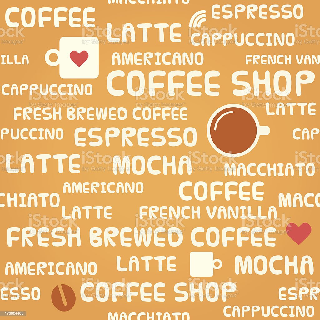 Coffee related pattern with text royalty-free coffee related pattern with text stock vector art & more images of backgrounds