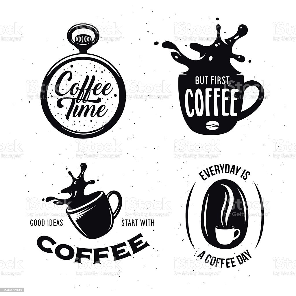 Coffee related quotes set. Vector vintage illustration. vector art illustration