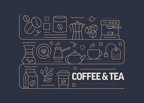 Coffee Related Vector Banner Design Concept, Modern Line Style with Icons