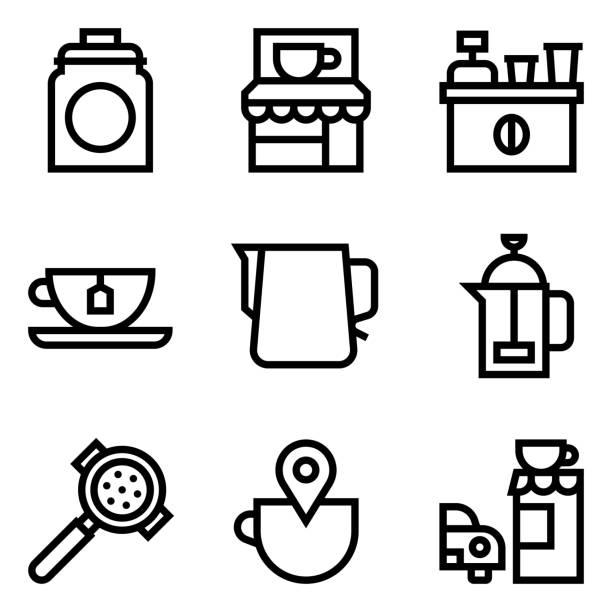 Coffee related vector icon set, line style – artystyczna grafika wektorowa