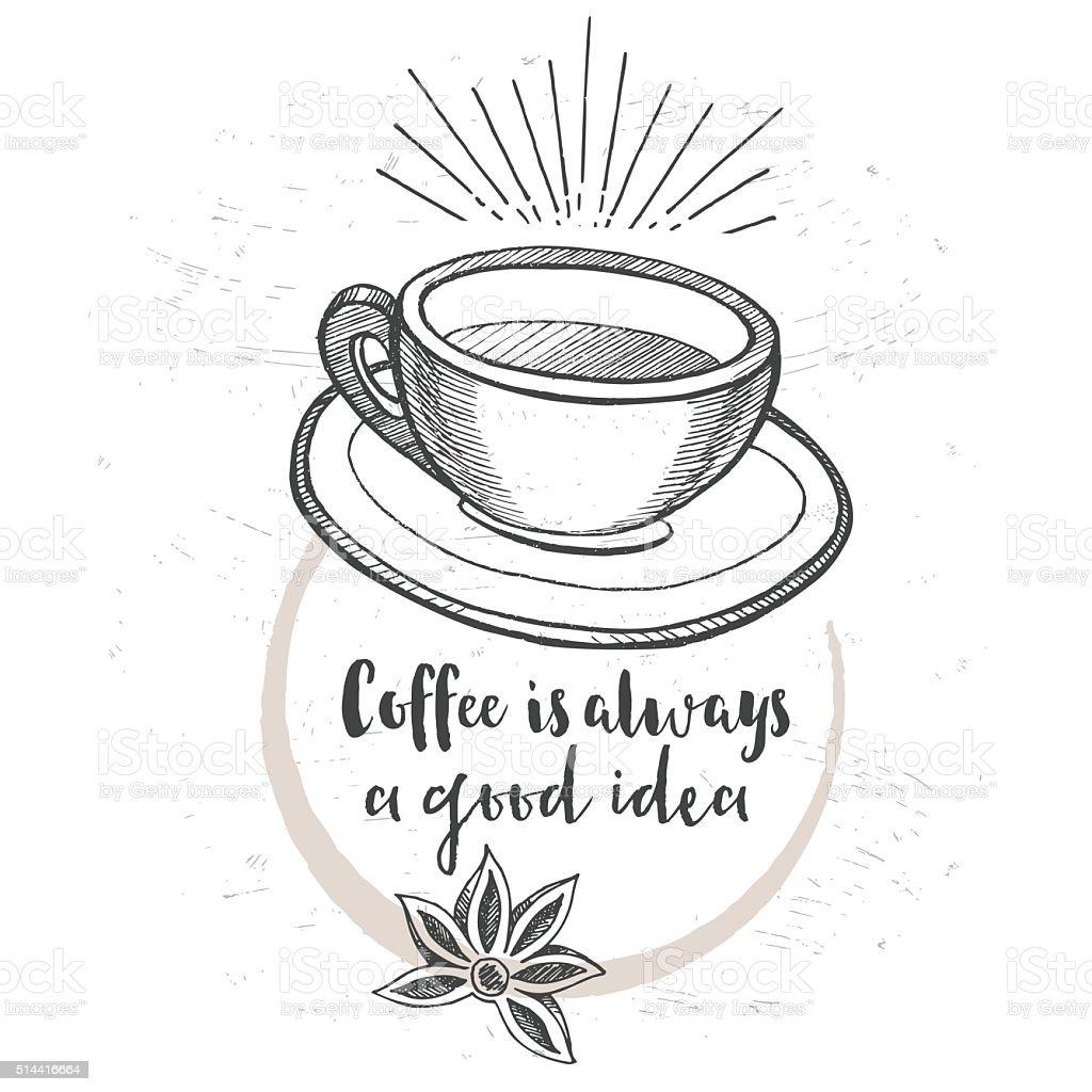 コーヒーレストランカフェメニューテンプレートデザイン いたずら書き