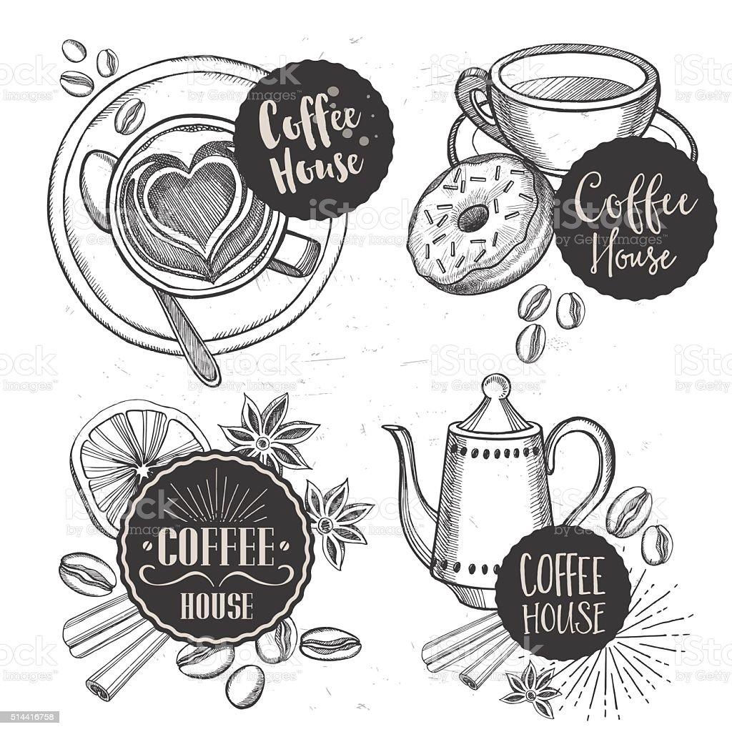 Kaffee Restaurant Cafémenüvorlagedesign Vektor Illustration ...