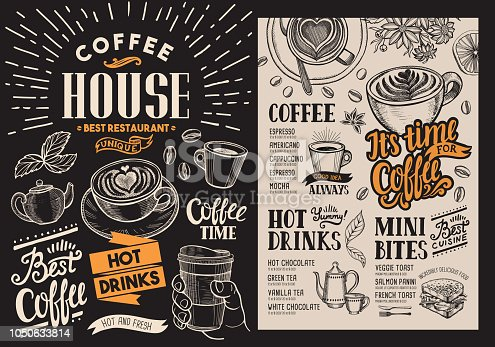 istock Coffee restaurant menu. Vector beverage flyer for bar and cafe. Blackboard design template with vintage hand-drawn food illustrations. 1050633814