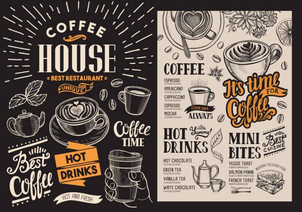 ilustrações, clipart, desenhos animados e ícones de menu de restaurante café. folheto de bebidas vetor para bar e café. modelo de design de quadro-negro com ilustrações vintage comida desenhados à mão. - café