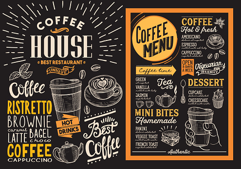 Coffee restaurant menu. Vector drink flyer for bar and cafe. Design template on blackboard background with vintage hand-drawn food illustrations. clipart