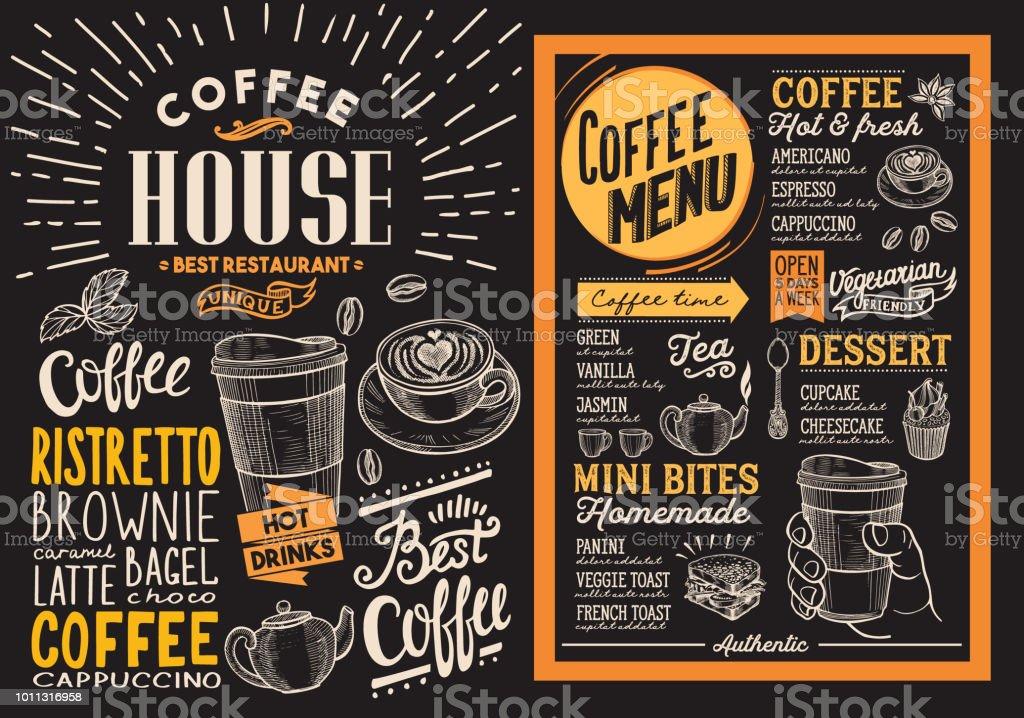 Coffee restaurant menu. Vector drink flyer for bar and cafe. Design template on blackboard background with vintage hand-drawn food illustrations. vector art illustration
