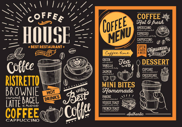 Coffee restaurant menu. Vector drink flyer for bar and cafe. Design template on blackboard background with vintage hand-drawn food illustrations. Coffee restaurant menu. Vector drink flyer for bar and cafe. Design template on blackboard background with vintage hand-drawn food illustrations. cafe stock illustrations