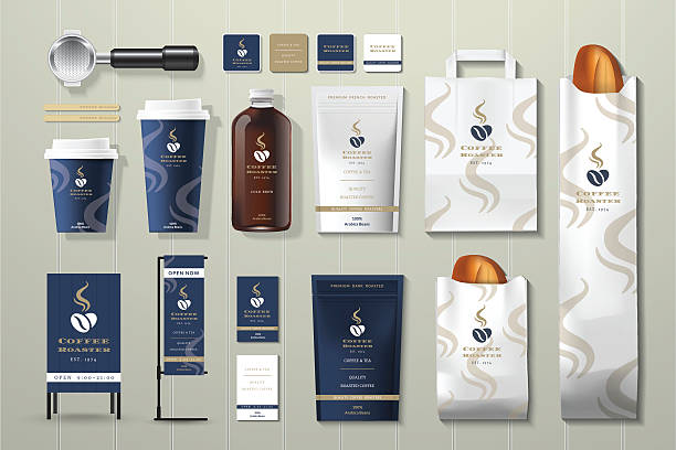 Coffee roaster corporate identity template design set vector art illustration