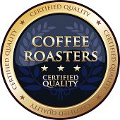 Coffee roasters gold emblem with a laurel.