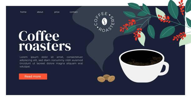 ilustrações de stock, clip art, desenhos animados e ícones de coffee roasters template with espresso, beans and coffee plant - pausa para café
