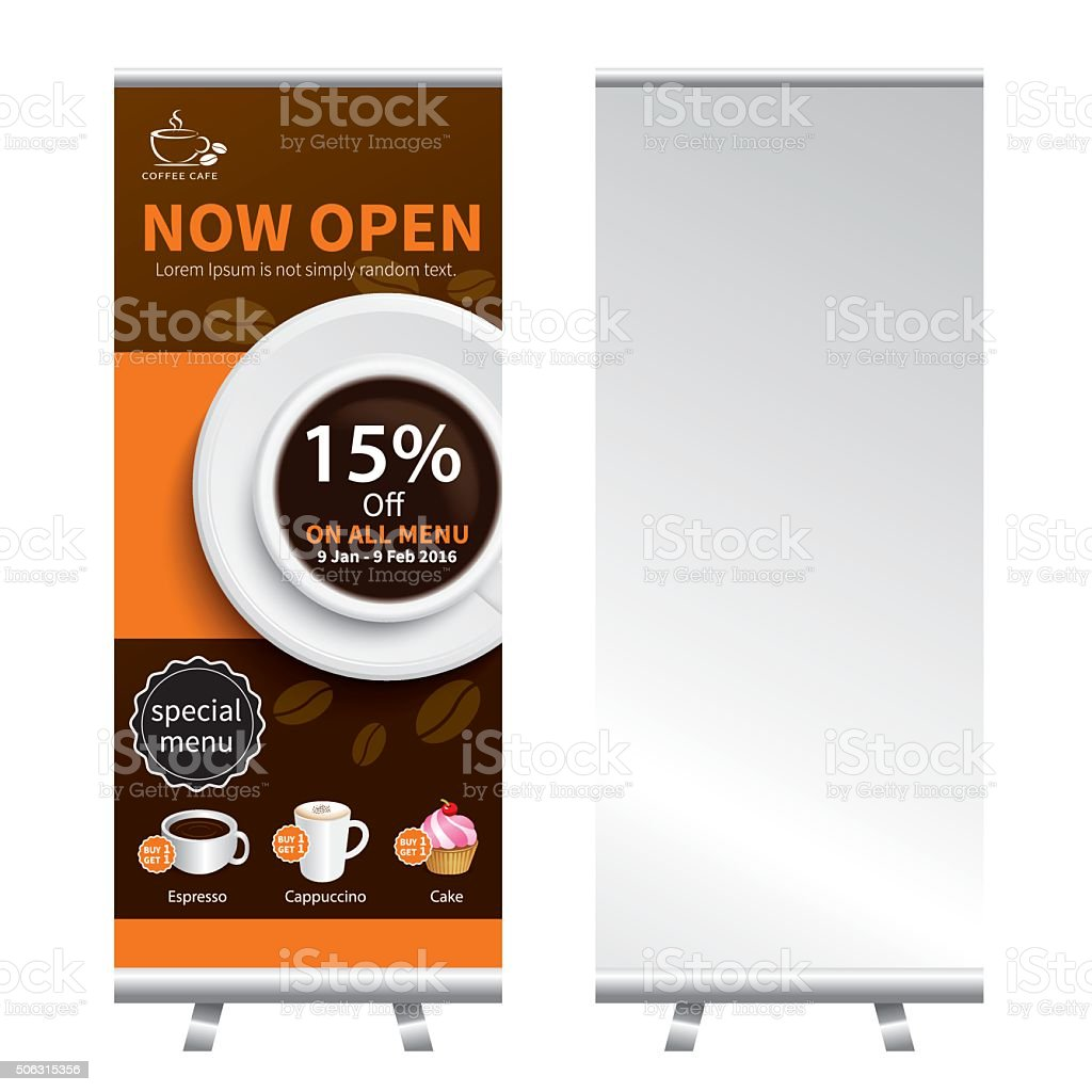 coffee roll up  banner stand design vector art illustration