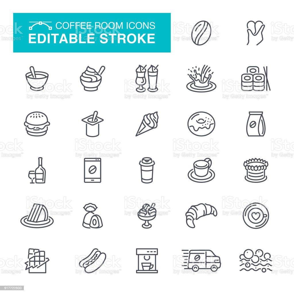 Coffee Room Editable Stroke Icons vector art illustration