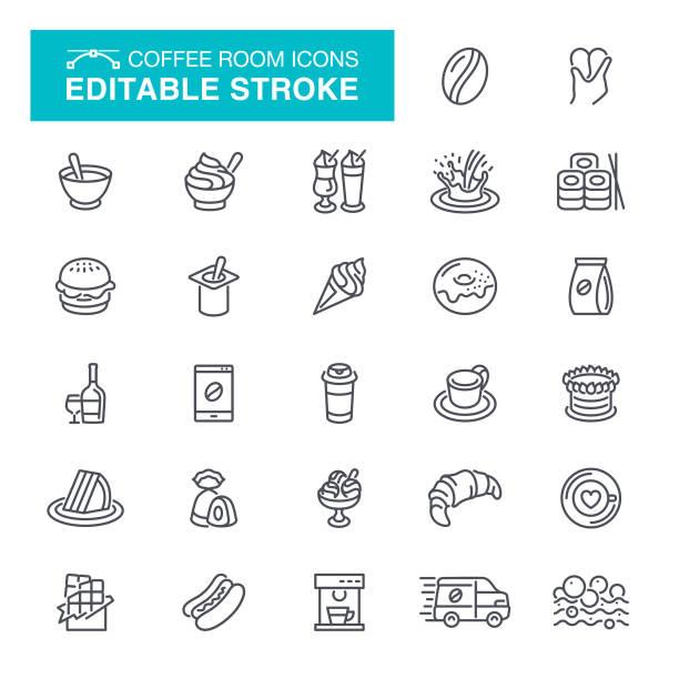 kaffee zimmer editierbare schlaganfall icons - tassenkuchen stock-grafiken, -clipart, -cartoons und -symbole