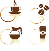 Coffee icon set with cup stains