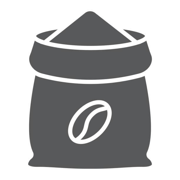 kaffee-sack-glyph-symbol, kaffee und café, vektorgrafiken kaffee tasche zeichen, einem festen muster auf weißem hintergrund, eps 10. - zeichensetzung stock-grafiken, -clipart, -cartoons und -symbole