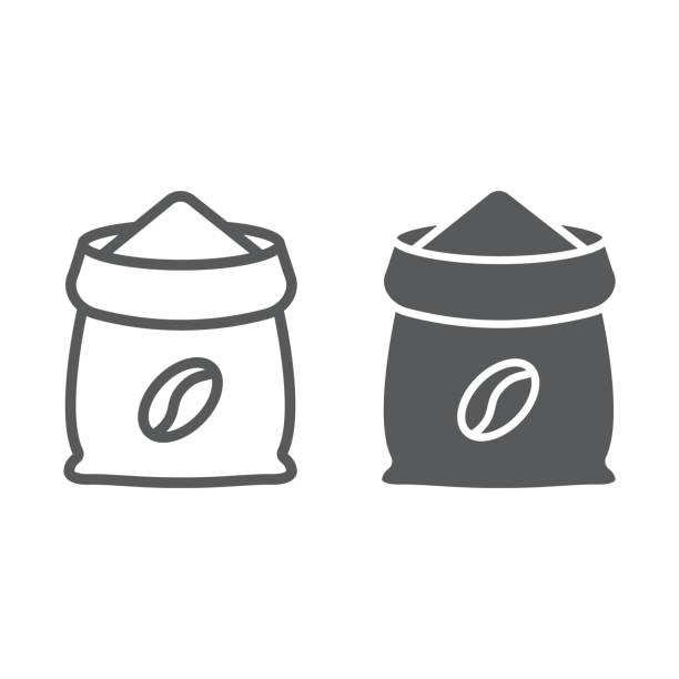 kaffee-symbol für sack linie und glyphe, kaffee und café, kaffee-tasche-zeichen-vektor-grafiken, ein lineares muster auf weißem hintergrund, eps 10. - zeichensetzung stock-grafiken, -clipart, -cartoons und -symbole