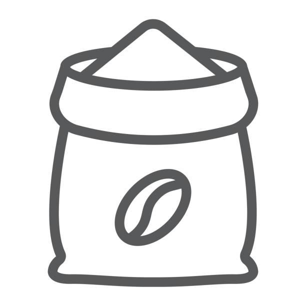 kaffee sack liniensymbol, kaffee und café, vektorgrafiken kaffee tasche zeichen, ein lineares muster auf weißem hintergrund, eps 10. - zeichensetzung stock-grafiken, -clipart, -cartoons und -symbole