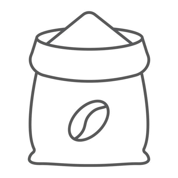 kaffee sack dünne liniensymbol, kaffee und café, kaffee-tasche-zeichen-vektor-grafiken, ein lineares muster auf weißem hintergrund, eps 10. - zeichensetzung stock-grafiken, -clipart, -cartoons und -symbole