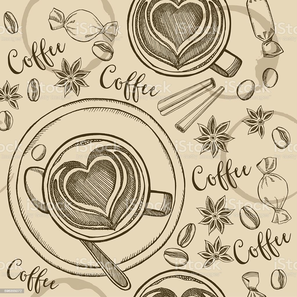 Coffee seamless pattern background. royalty-free coffee seamless pattern background stock vector art & more images of backgrounds