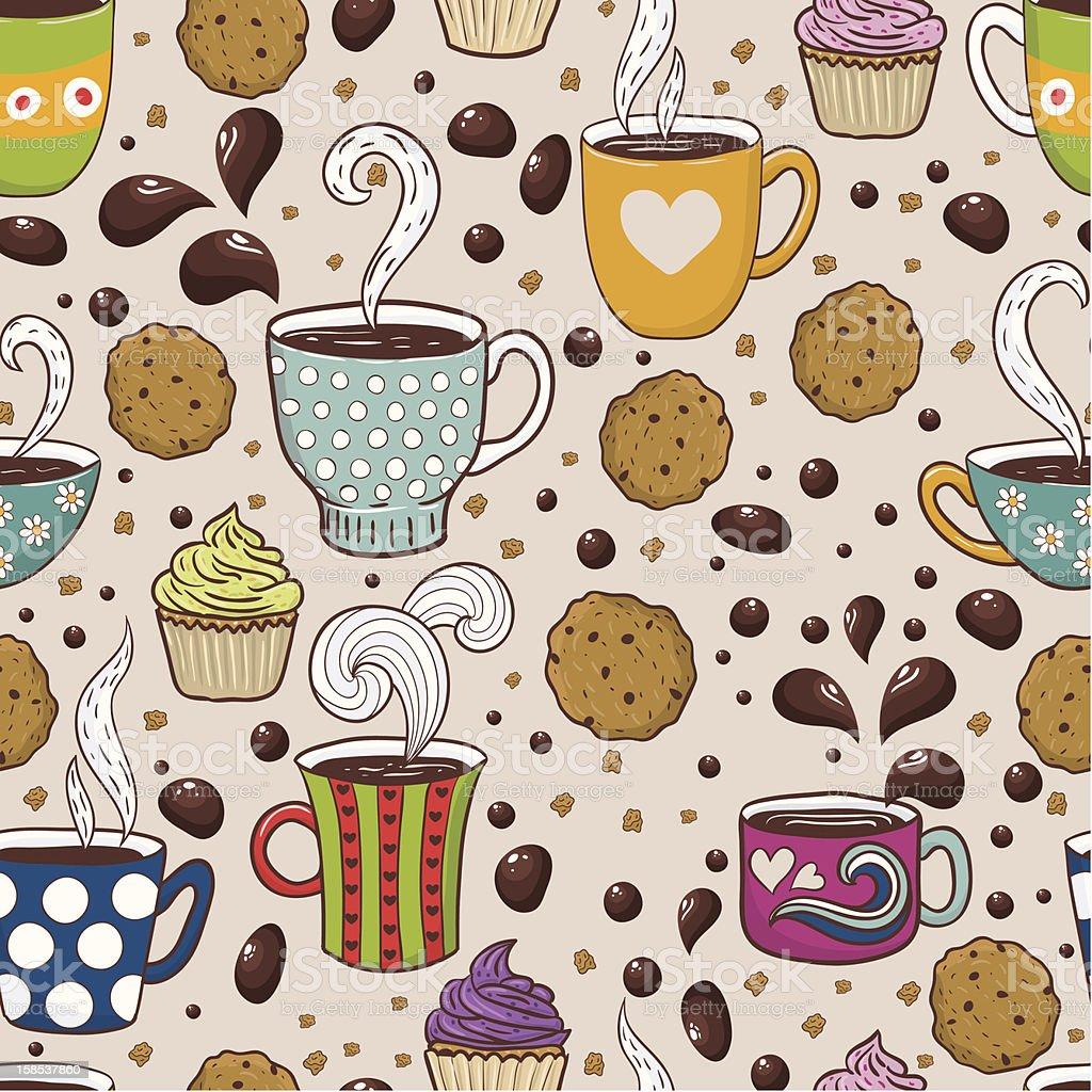 Coffee seamless pattern royalty-free stock vector art