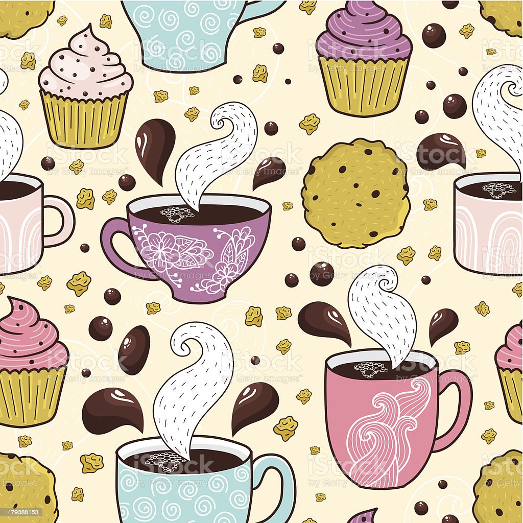 Coffee seamless pattern royalty-free stock vector art