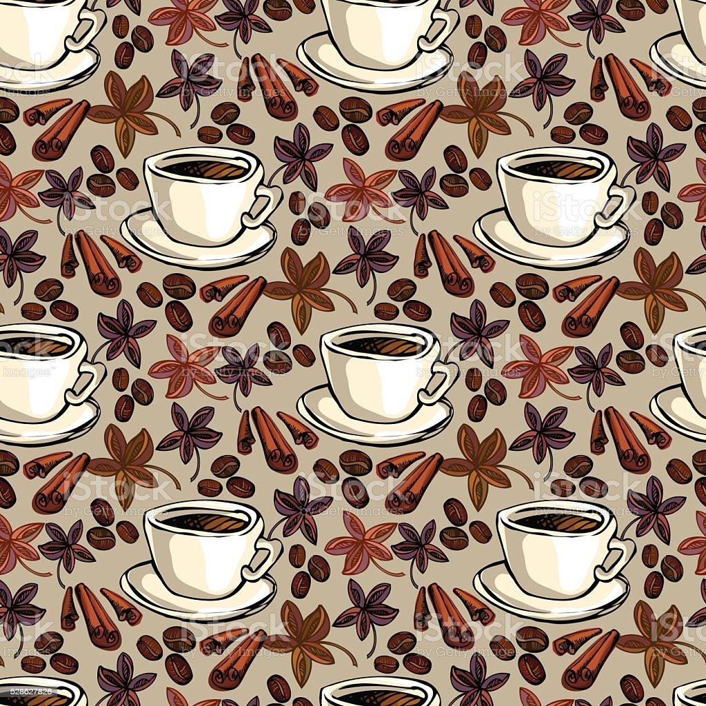 Coffee seamless pattern vector art illustration