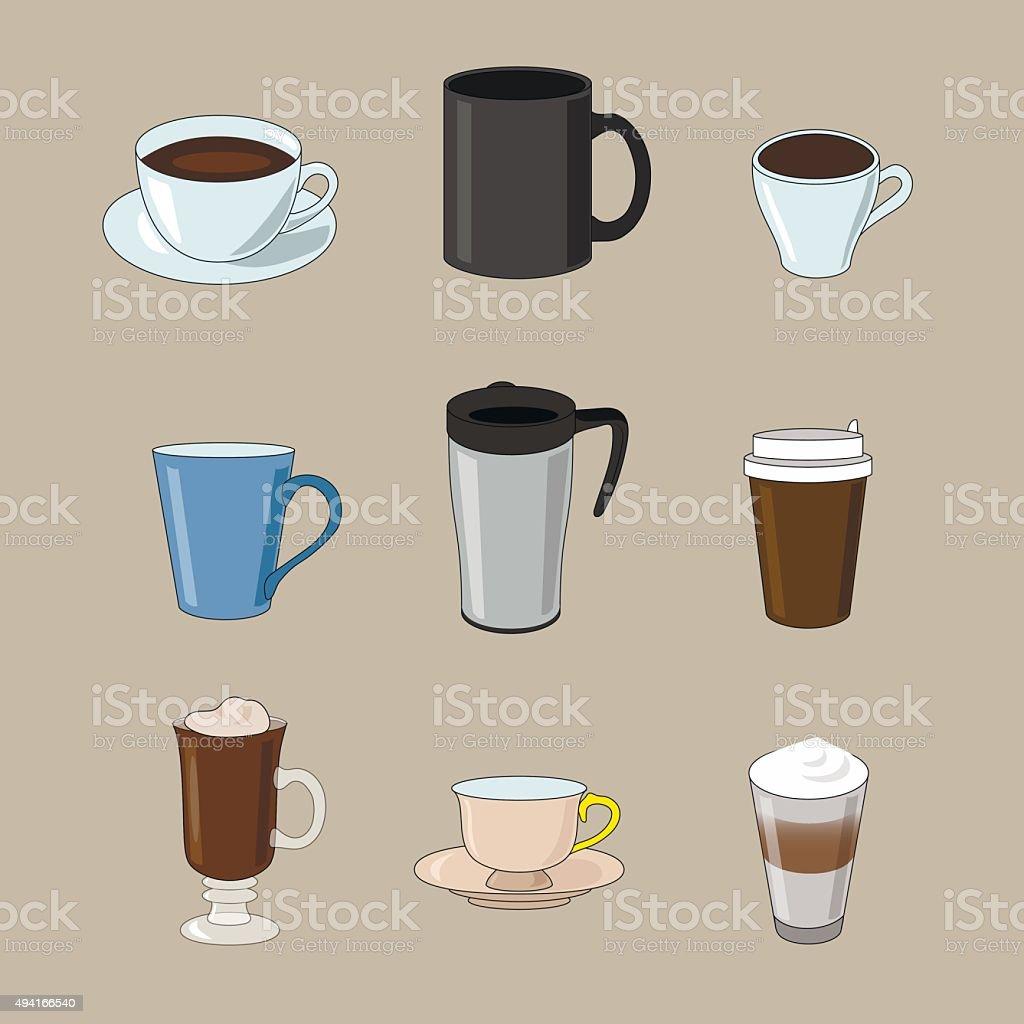 Set di tazze di caff di diversi tipi di caff immagini - Diversi tipi di caffe ...