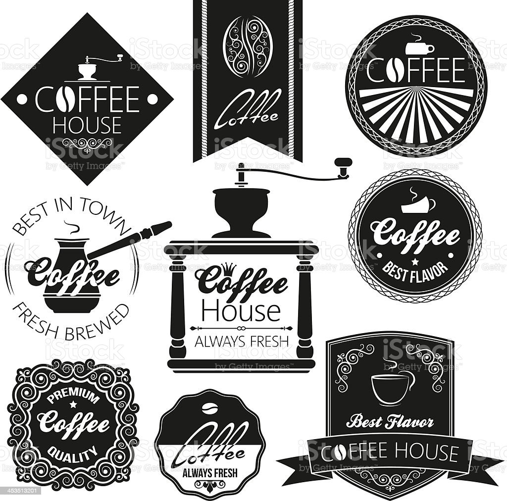 coffee set labels royalty-free stock vector art