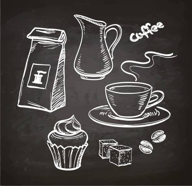 Coffee set on chalkboard Coffee set. Chalk sketch on blackboard. Hand drawn vector illustration. Retro style. cake drawings stock illustrations