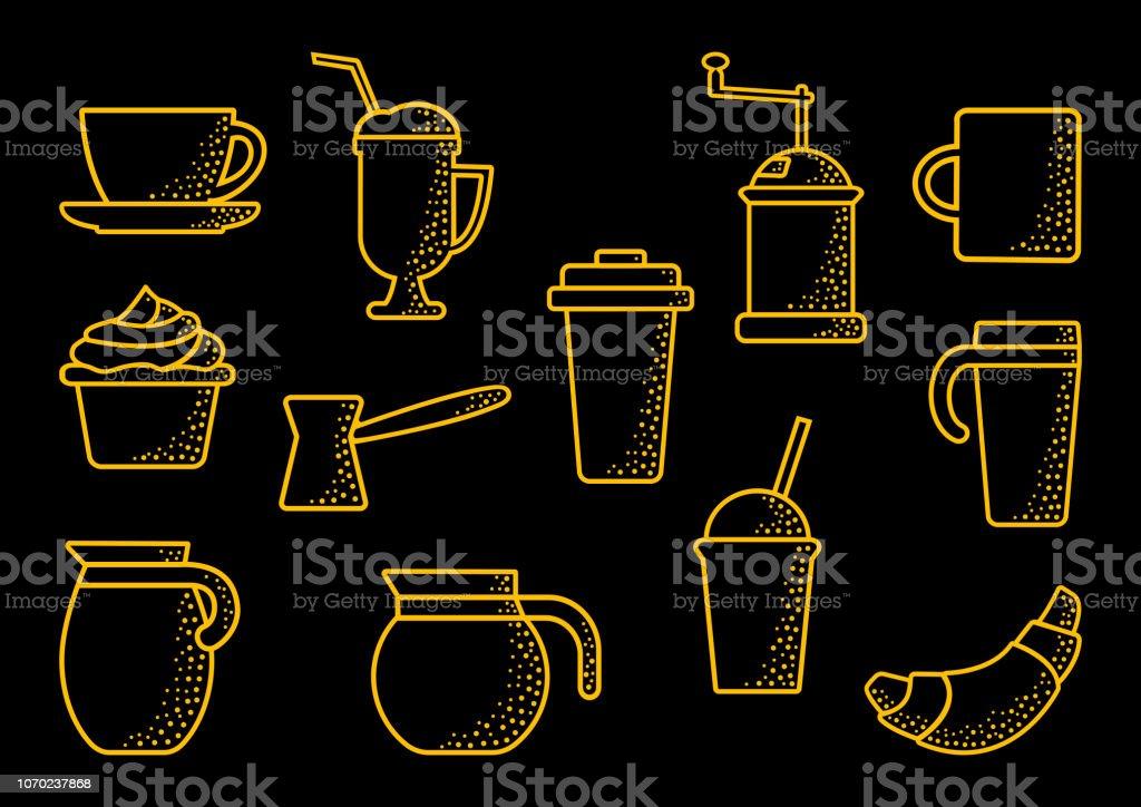 Coffee set, outline design. Orange line art on black background. Vector illustration vector art illustration