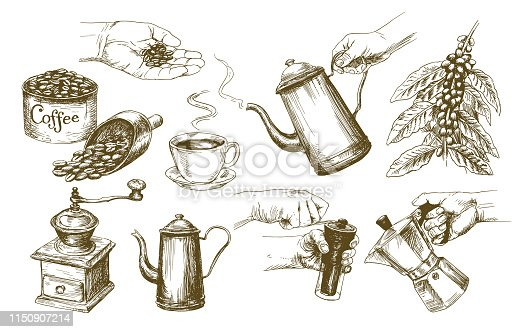 Coffee set. Hand drawn vector illustration.