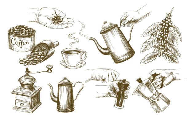 coffee set. - espresso stock illustrations
