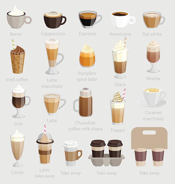zestaw kawy. - cappuccino stock illustrations
