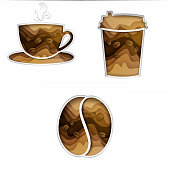 Paper cut coffee set. Vector illustration of coffee cup, disposable cup and coffee bean isolated on white background.