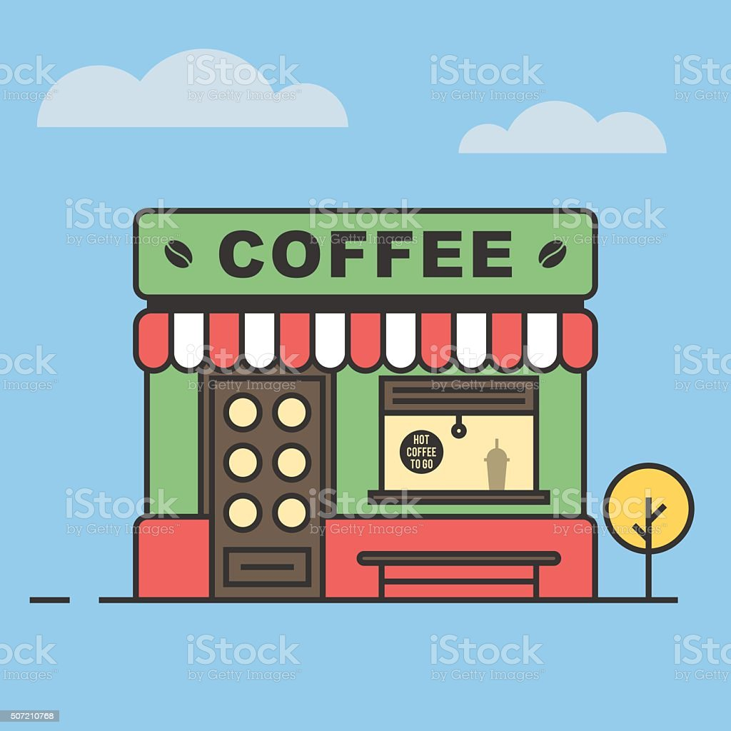 Coffee shop, a building with a bench and a tree vector art illustration