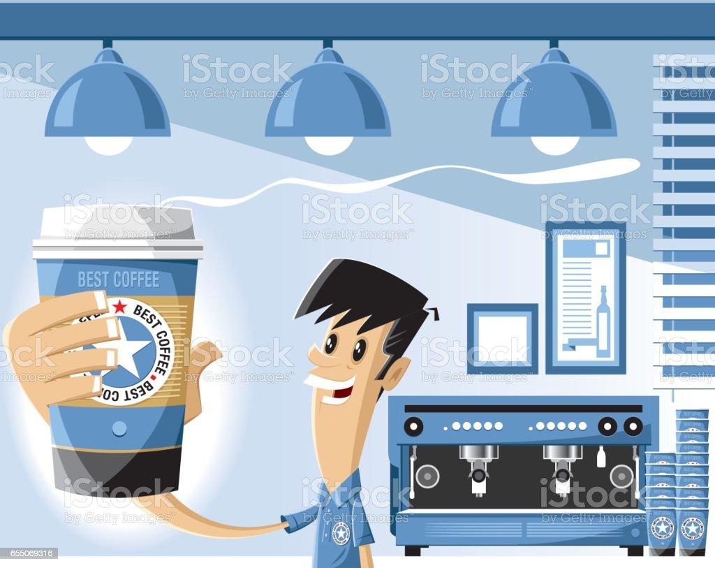 Tienda de café y baristas - ilustración de arte vectorial