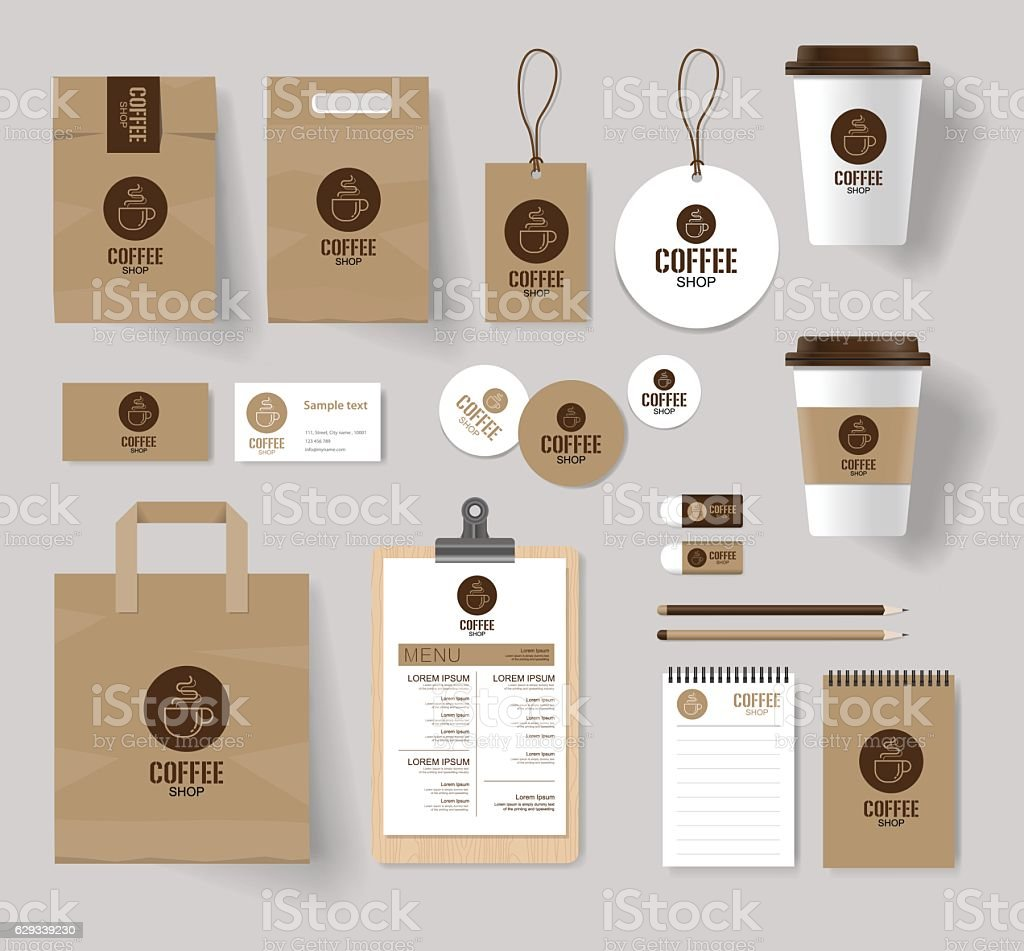 coffee shop and restaurant branding mock up template vector art illustration