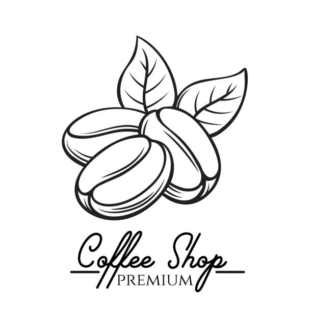 coffee shop badge - ziarno kawy palonej stock illustrations