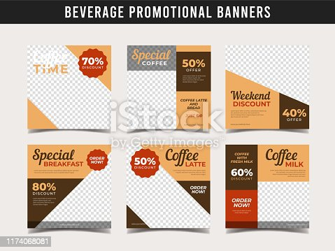 Coffee shop banner for social media post template