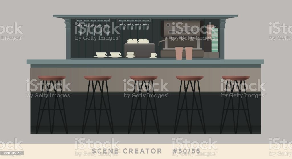 Coffee shop bar counter.  Isolated vector objects set. vector art illustration