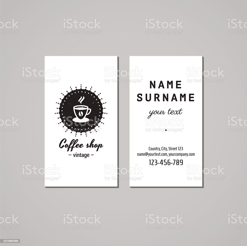 Coffee Shop Business Card Design Concept Coffee Logobadge With Cup ...