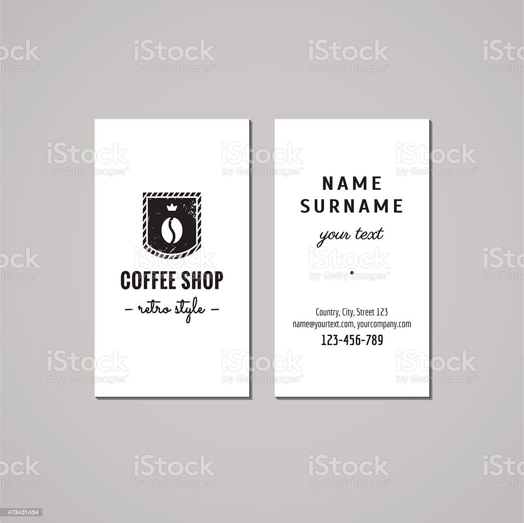Coffee Shop Carte De Visite Design Concept Logo Avec Grain Caf