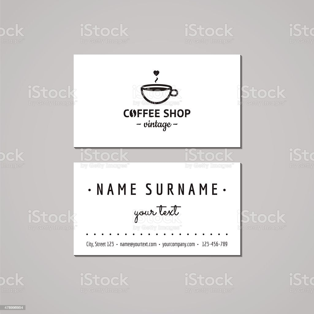 Coffee shop business card design concept logo with cup stock vector coffee shop business card design concept logo with cup royalty free coffee shop business reheart Images