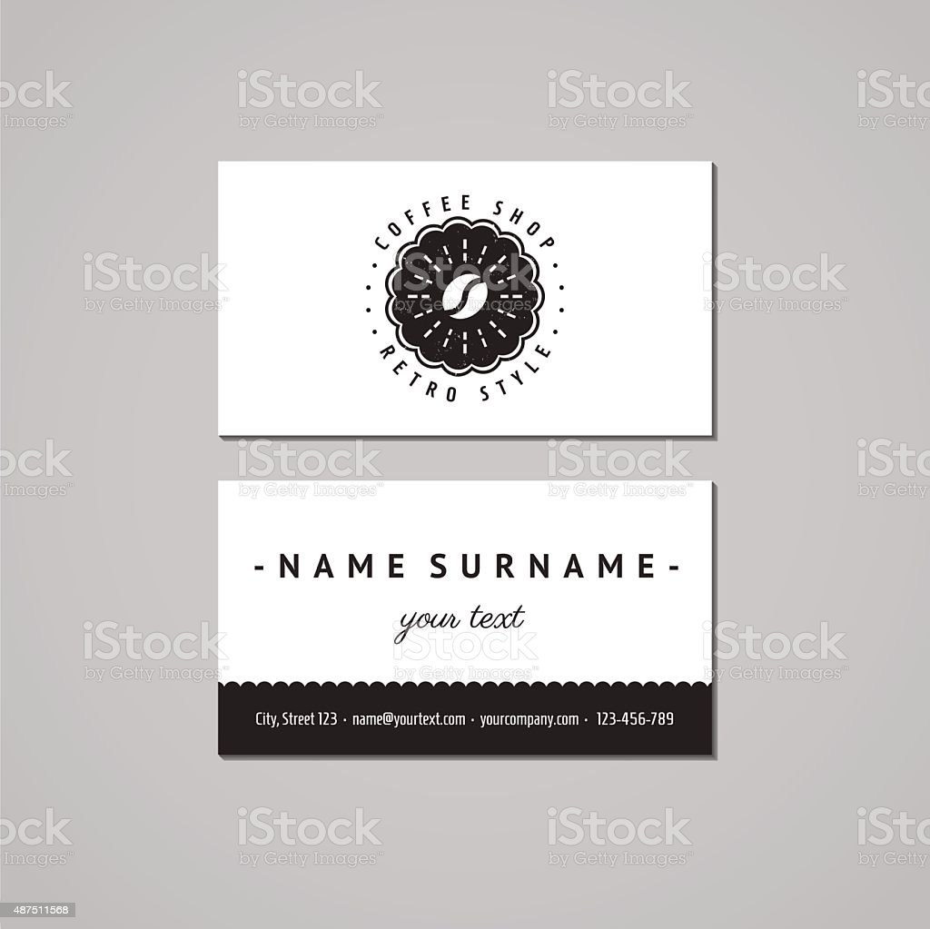 Coffee shop business card design concept.  Logo-badge (coffee bean, rays) vector art illustration