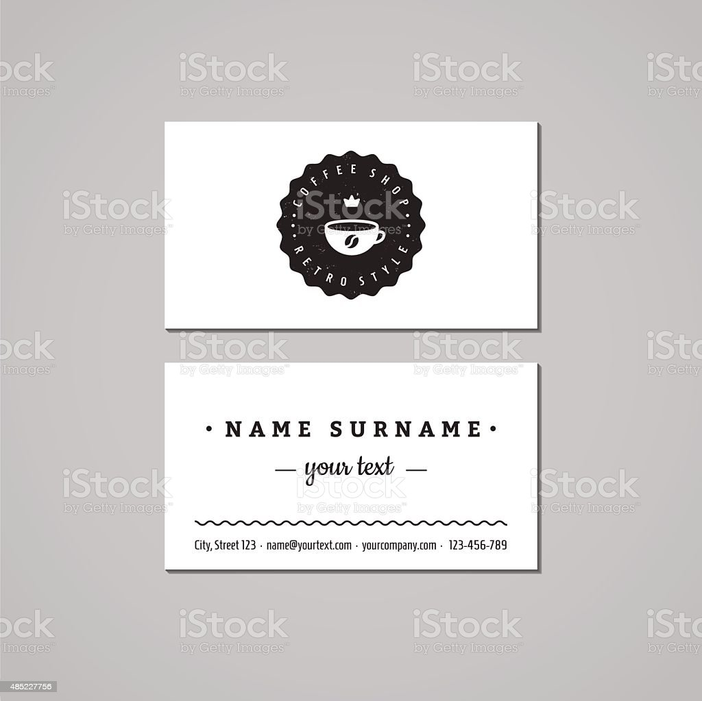 Coffee Shop Business Card Design Concept Logobadge With Cup Stock ...