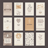 Coffee shop invitations, cafe business cards, menu pages, banners, flyers. Artistic templates collection with hand drawn design elements: hot drink, cold tea, barista, donut, beverages pattern.