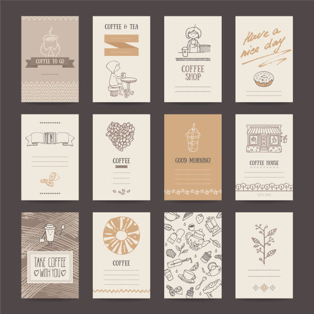 Coffee Shop Business Card, Flyer, Menu Template vector art illustration