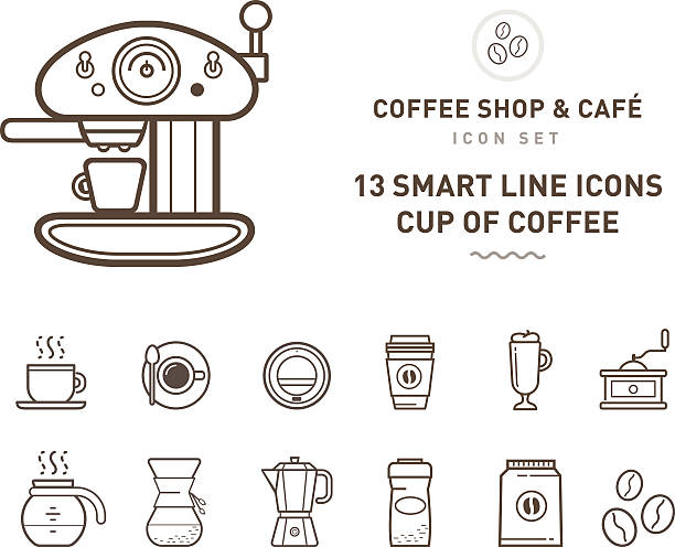 coffee shop & café line Set of coffee shop & café line symbols irish coffee stock illustrations