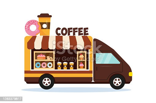 istock Coffee shop car with sign on the top. 1283379817